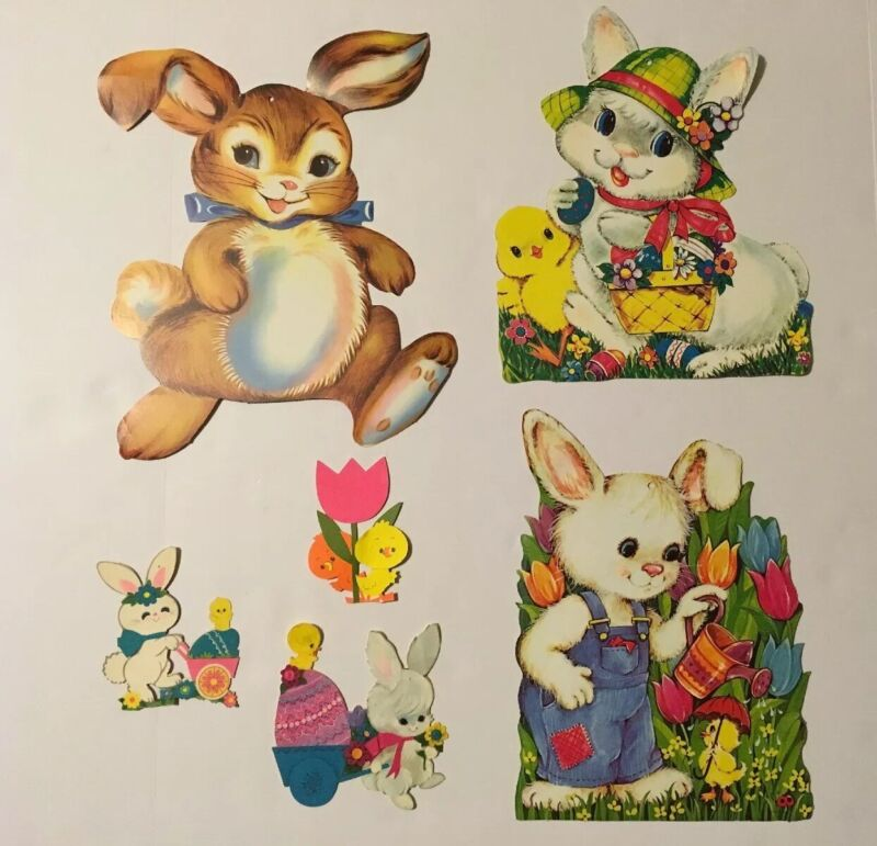 Vintage Easter Bunny Paper Die-Cut Decorations 2-Sided Qty of 6 Bunnies Chicks