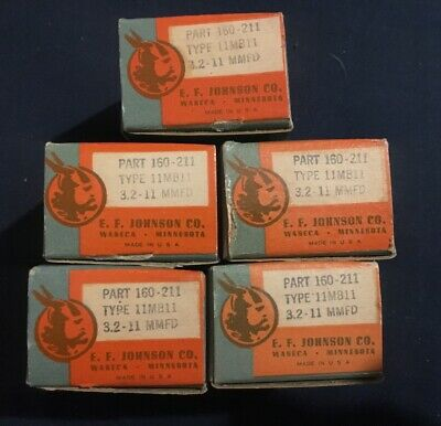 Vtg Ef Johnson Capacitor 160-211 Electronic Component Iob Type 11mm11 Nos 5 Pc
