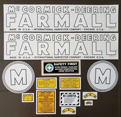 Farmall Mccormick Deering Model M Decal Set