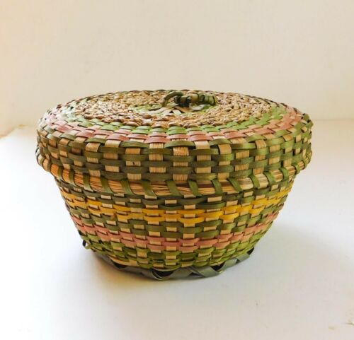 Vintage Native American Indian Colorful Basket Northeast Ash With Lid