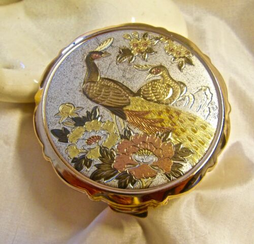 VINTAGE JAPANESE CHOKIN METAL ART PEACOCK & FLOWERS COMPACT CASE