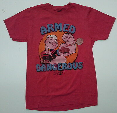 New Licensed Popeye Armed and Dangerous T Shirt cartoon sailor muscle guns bicep