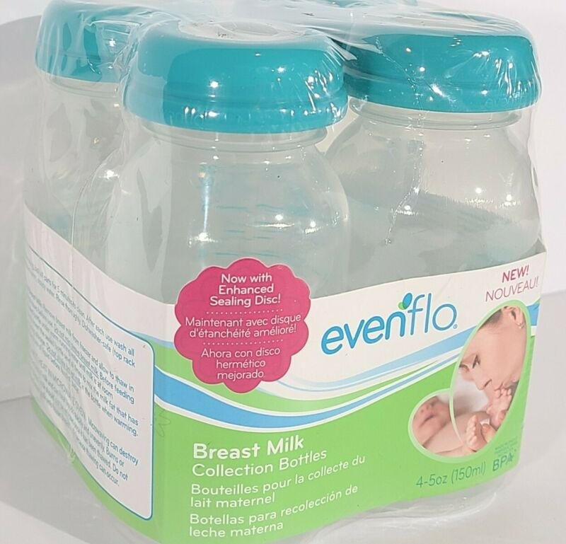 New Package of 4 Evenflo Breast Milk Collection Bottles 5 Ounces BPA FREE w