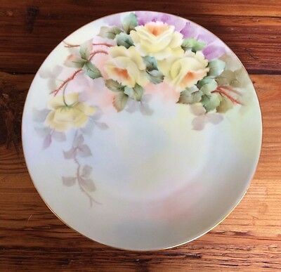 "THOMAS SEVRES YELLOW ROSE HAND PAINTED PORCELAIN 7 7/8"" PLATE ~ SIGNED"