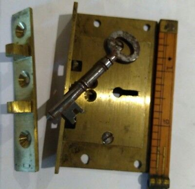(Solid brass half mortice 3 lever desk lid lock with key 1⅝ x 2⅞