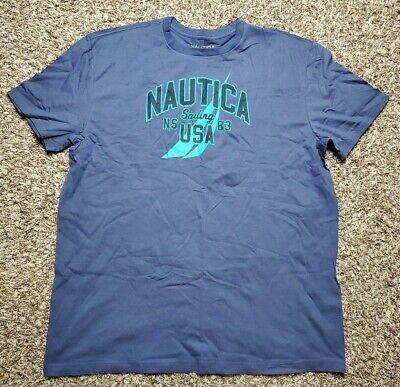 NAUTICA Blue Indigo Graphic Logo Crewneck T Shirt XXL 2XL NWT Mens
