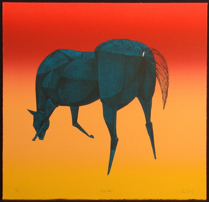 """Lew Davis """"big Blue"""" Signed Numbered Lithograph Art Print Of A Horse Make Offer"""