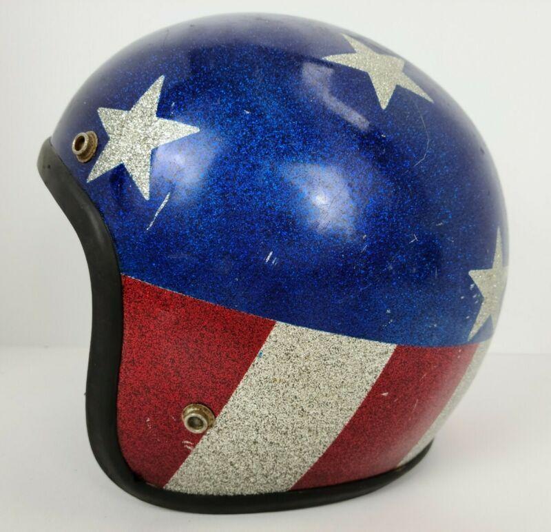 Vintage American Flag Stars Stripes Metal Flake Sparkle Adult Motorcycle Helmet