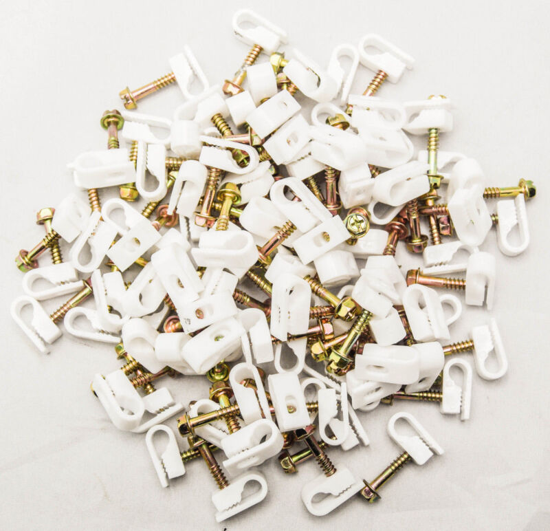 """1000 Pcs White Single Coaxial Cable Clips for Cat6 RG59 RG6  1/4"""" Screw Fastener"""