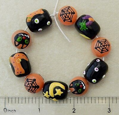 Glass Halloween Beads (Halloween Beads Hand Painted Glass Spider Web Cat Witch Boot Black Orange)