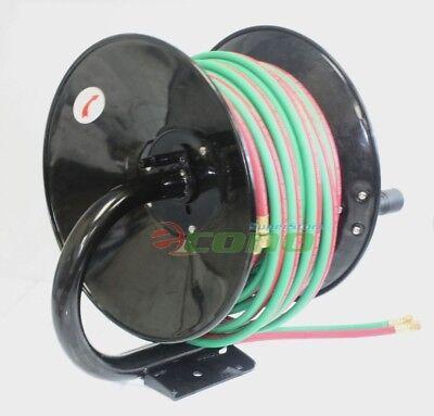 Manual 100ft Twin Oxy Acetylene Welding Hose Reel Mount 300psi 100 Weld Hoses