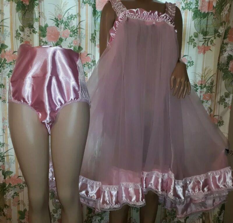 Custom 2 pc Pink satin Sheer chiffon nylon Sissy Babydoll Panty 48W 46B