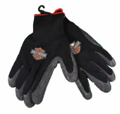HARLEY DAVIDSON Motorcycle Black Knit Rubber -RIDING Winter Gloves size- Large