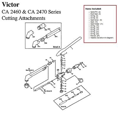 Victor Ca2460 Ca2470 Cutting Torch Large Rebuildrepair Parts Kit 0390-0057