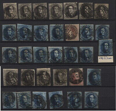 BELGIUM #3-4-5 FRAMED MEDALLIONS 33 stamps used . All cut. High CV (3814€)