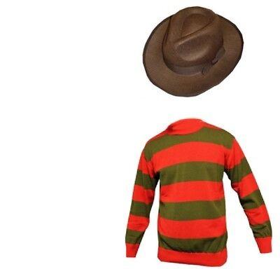 New Mens Freddy Halloween Horror Krueger Style Fancy Dress Hat Jumper Set