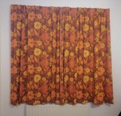 "Vintage Orange brown floral retro curtains 70"" X 65"" 60s 1970s campervan"