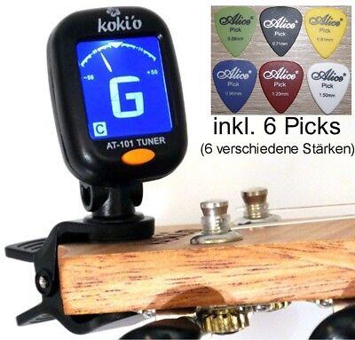 Clip Tuner Stimmgerät chromatisch inkl. Batterie + 6 Picks (versch. Stärken)