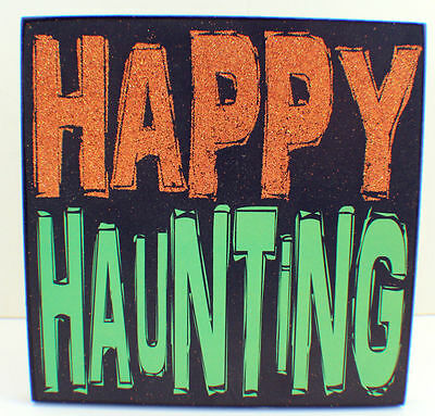 Happy Haunting Glitter Embellished Halloween Holiday Table Decor Sign - Happy Halloween Glitter Sign