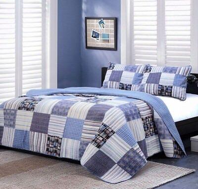 Daniel Denim Real Patchwork 100%Cotton Quilt Set, Bedspread,
