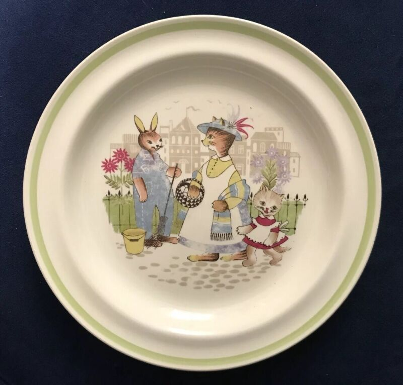 Vintage Arabia Finland Children's Plate Cat Family And Rabbit In Town