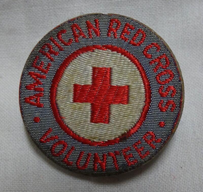 WWII American Red Cross Volunteer Pin War Metal Shortage Fabric/Plastic