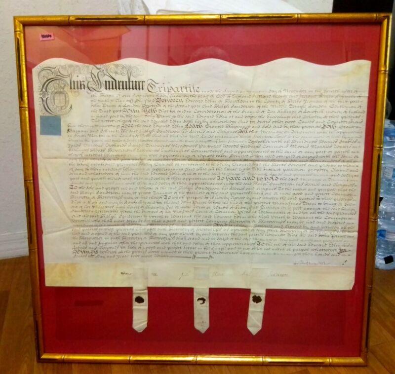 FRAMED Beautiful 1705 Vellum Land Indenture England 3 Wax Seals! Queen Anne Era!