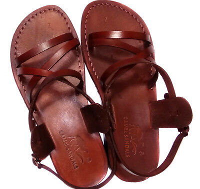 Brown Gladiator Jesus Men's Leather Sandals Strap Handmade UK 4-12 EU - Gladiator Men