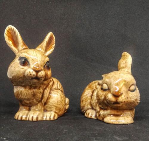 Vintage Two Porcelain Stone Look Miniature Bunnies Rabbits Figurines Japan