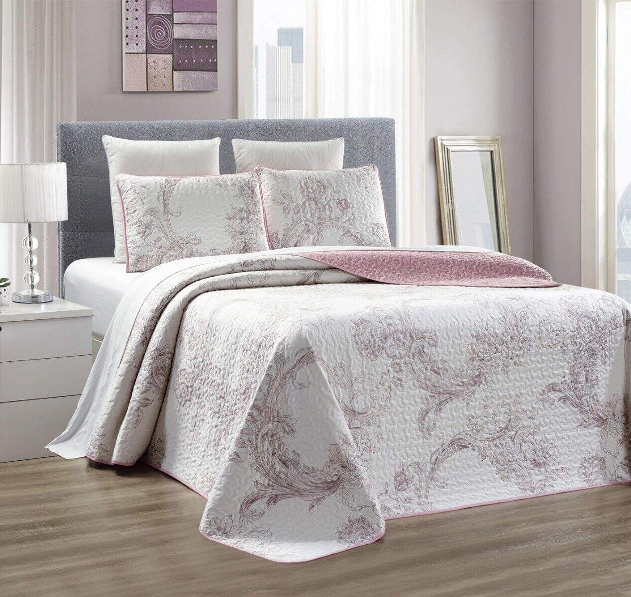 Light Purple White Floral Quilt Reversible Full/Queen Size C