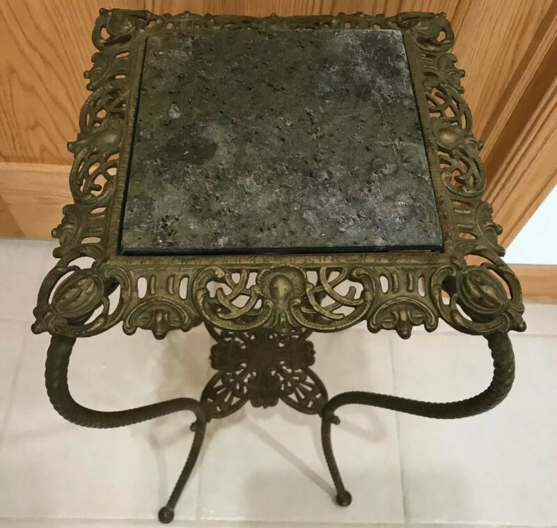 Antique Victorian Cast Iron Brass Twisted Leg Plant Fern Stand Granite Top