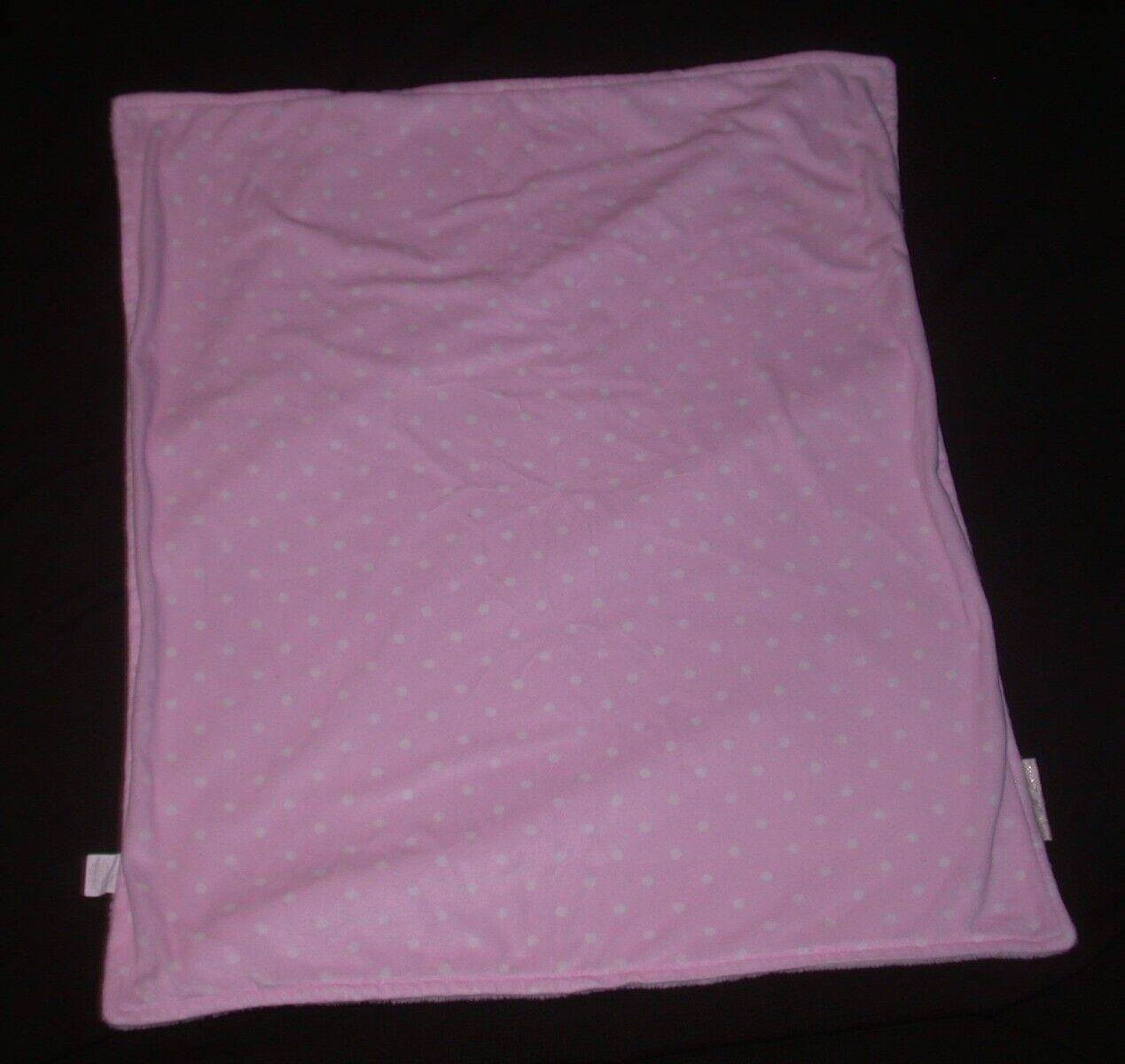 BLANKETS BEYOND Pink White Polka Dot Fleece Security Lovie Lovey Plush 28x31 - $4.99