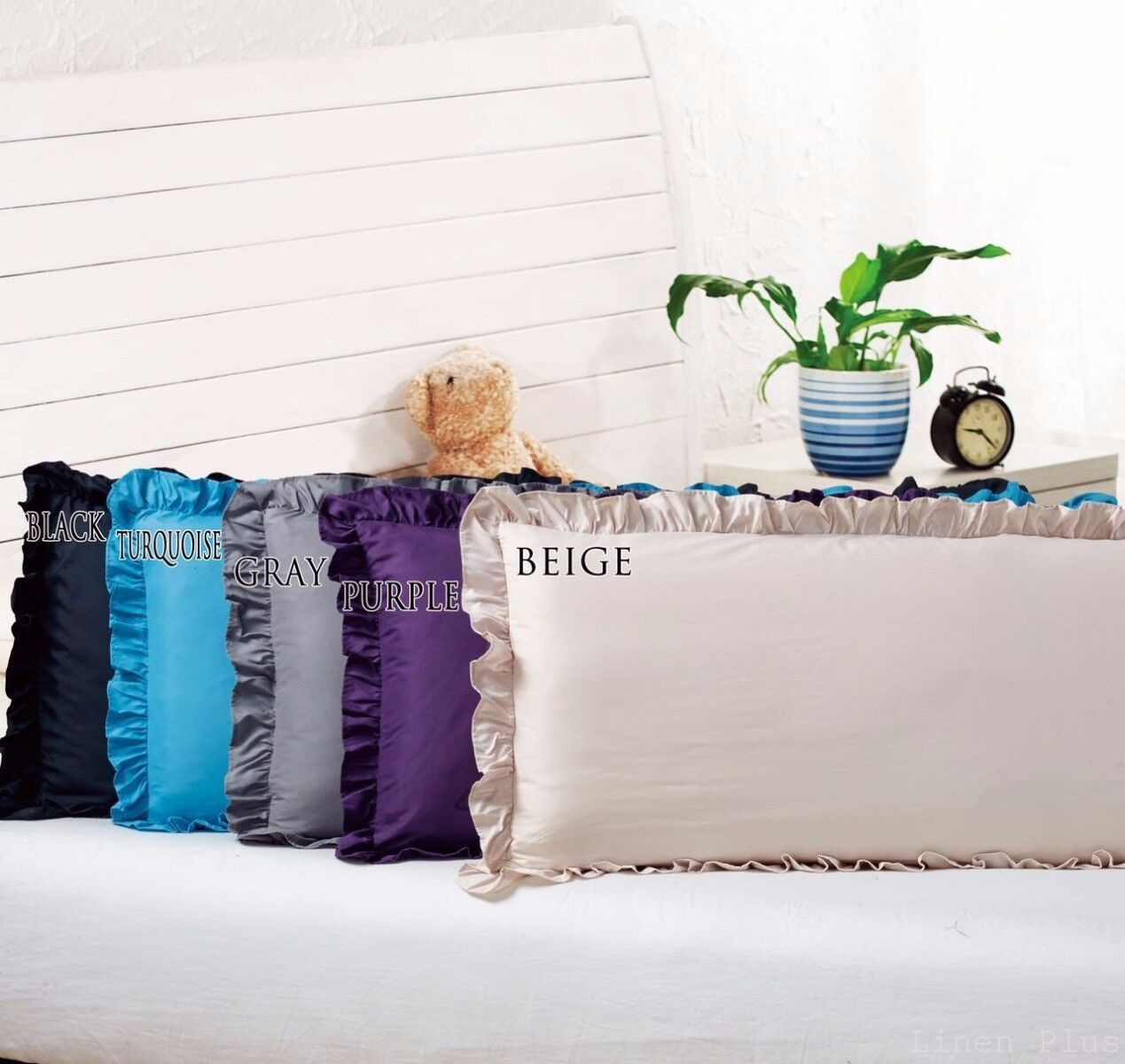Body Pillow Ruffled Solid Cover Case Decorative 20″x54″+2 (8 Colors) Bed Pillows