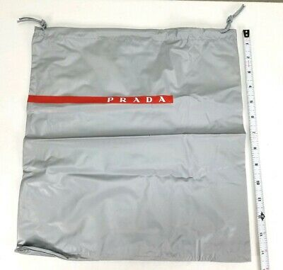 Prada Large Gray Silver Dust Bag Vinyl Drawstring Purse Shoes 14.5 x 13.5