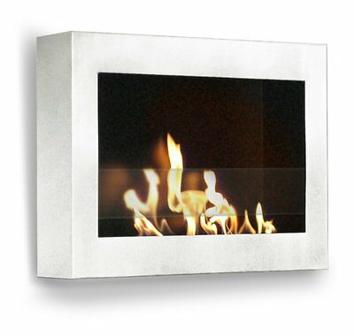 Anywhere Fireplace SoHo Wall Mount Ethanol Smokeless Eco Bio Fuel Glossy White Ethanol Biofuel Fireplace