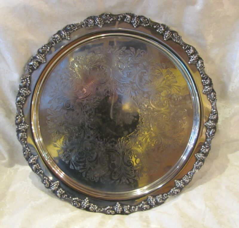 Antique Large Round Silver Plate Serving Tray Circa 1920