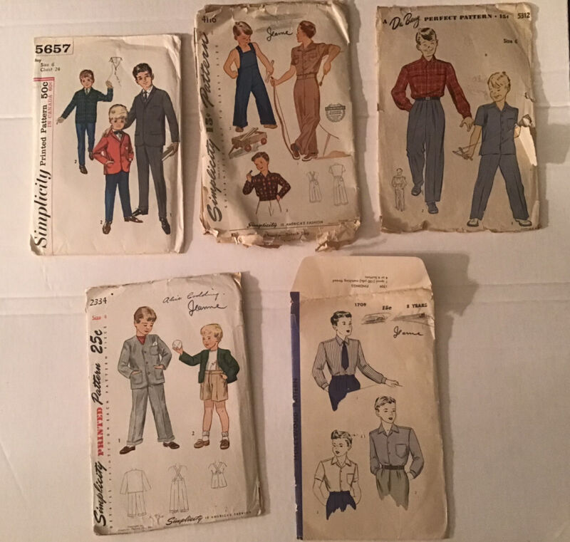 Lot of 5 Boys Sewing Patterns 1930s-1940s-1950s Suits Shirts Overalls Pants