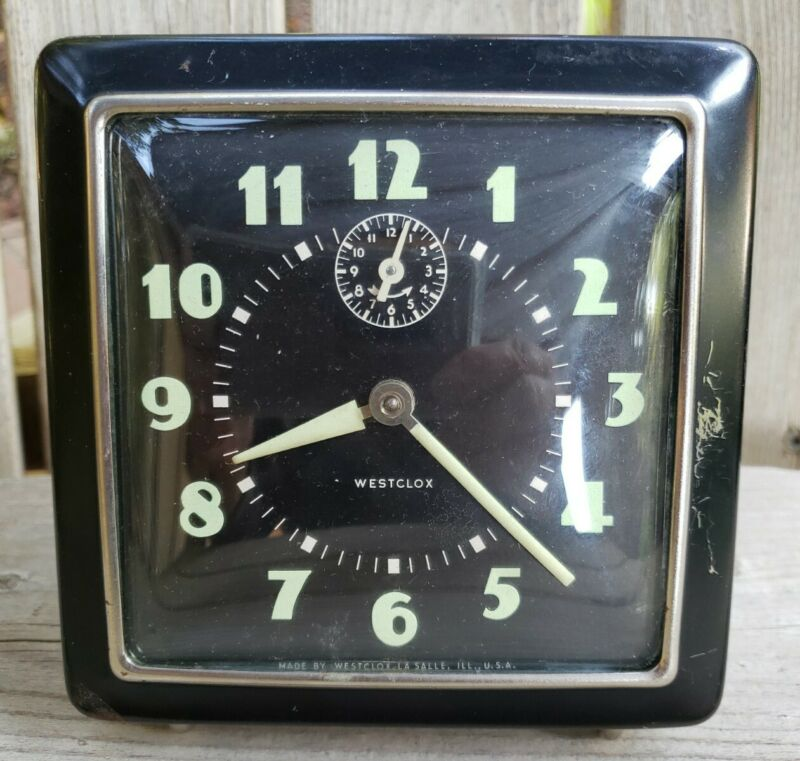 Vintage 1940s Westclox Wind Up Alarm Clock Black Art Deco Luminous Hands Tested
