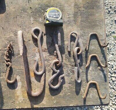 Vintage Antique Iron Hooks old blacksmith made iron hooks x 8
