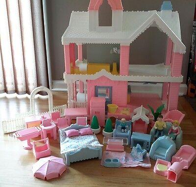 Huge Playskool Victorian Dollhouse Lot with Furniture
