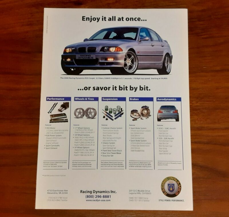 RACING DYNAMICS MAGAZINE ADVERTISEMENT E46 R35 STYLE POWER PERFORMANCE