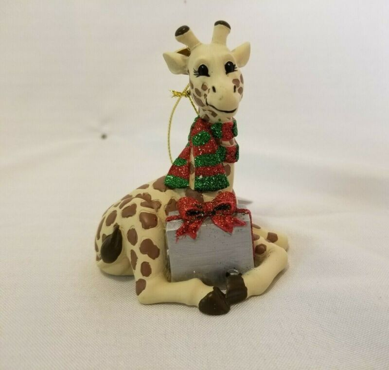 4-COUNT Giraffe Safari Animal Resin Christmas Ornaments Collectible NEW