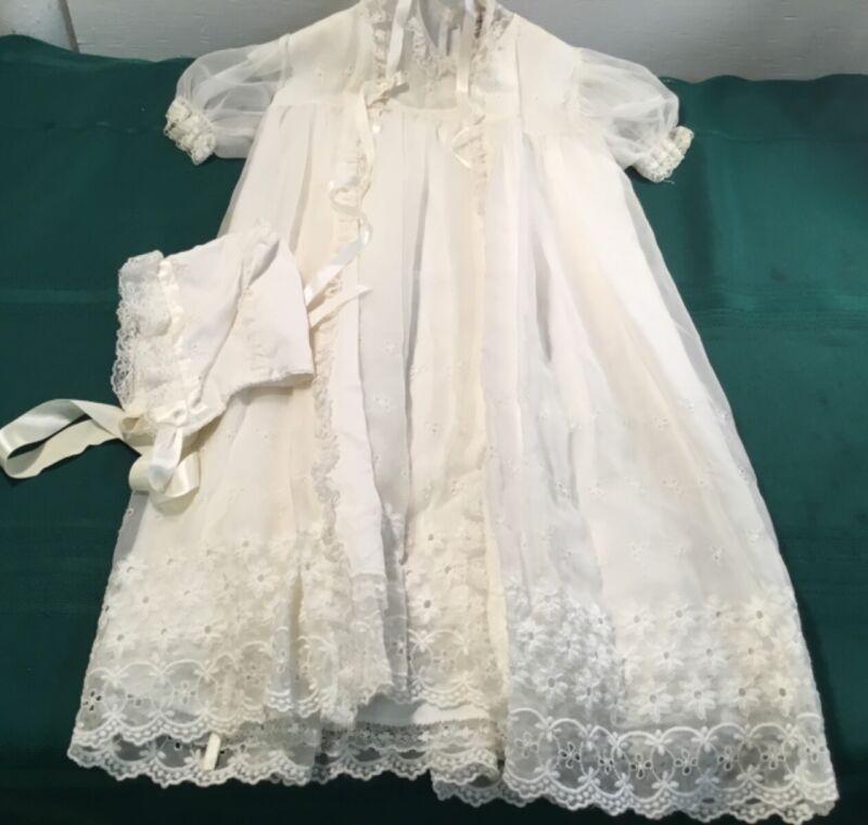 Vintage Madonna Embroidered Christening Baptism Set Lace White