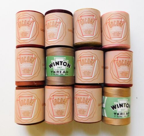 Vintage Large Core Thread Spools Oncore Winton Banded Colors Lot 9