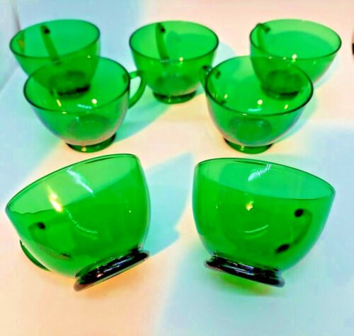 Vintage Anchor Hocking Forest Green Punch/Snack Cups - Pristine - Lot of 7