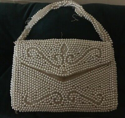 1950s Handbags, Purses, and Evening Bag Styles 1950 Vintage Lanza Purse Handbag Tote Bag Pearl Beads Antique Cream Made Japan $22.47 AT vintagedancer.com