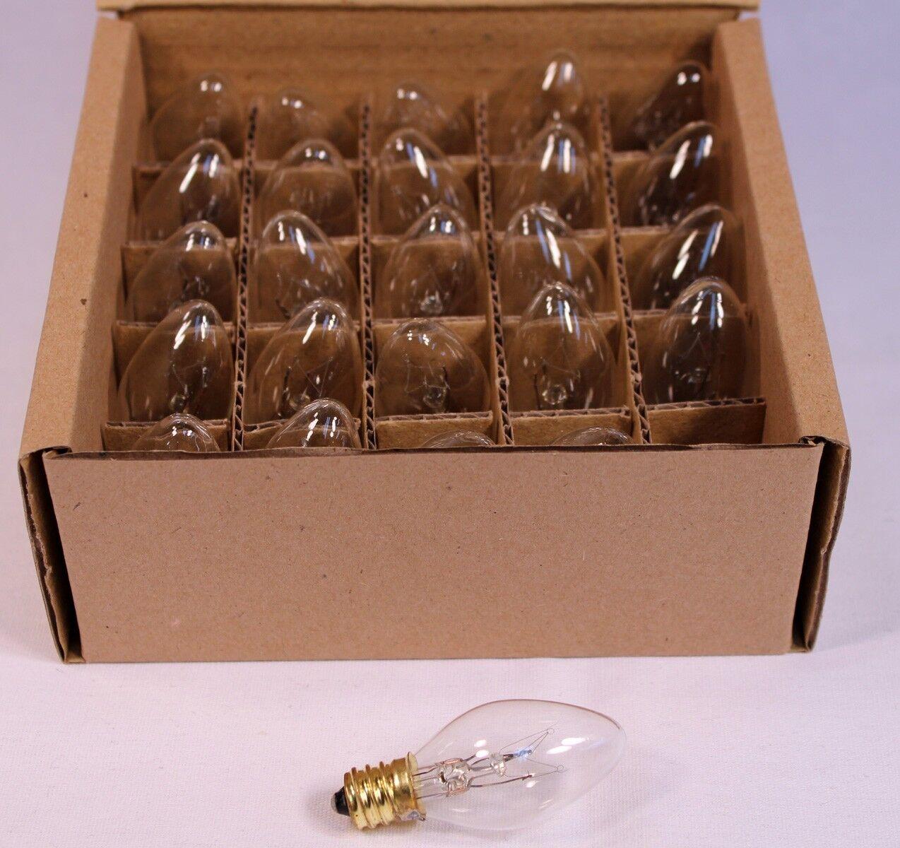 Clear Twinkle Blinking Light Bulbs – C-7 ,Candelabra Base, 7 Watt – Box of 25 Home & Garden