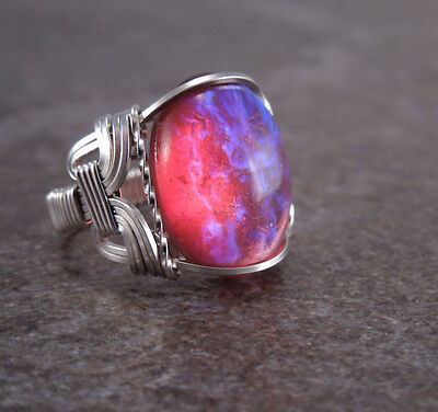 Sterling Silver Dragons Breath Mexican Opal Glass Cabochon Wire Wrapped Ring