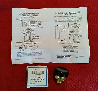Watts N36m1 Vacuum Relief Valve - 12 - Grainger Part 6a772 - Water Or Steam