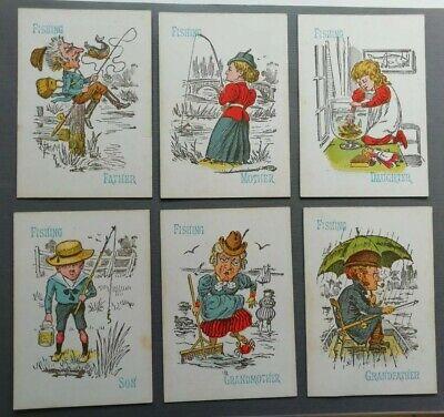 Rare vintage  1920s Glevum FISHING cards - family set of 6 - birthday gift